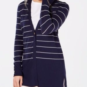 Charter Club Striped V-Neck Cardigan, navy Size PL